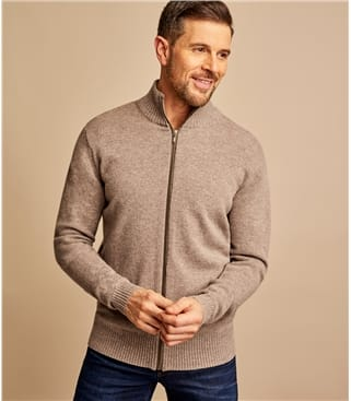 Mens Lambswool Lincoln Zipper Cardigan