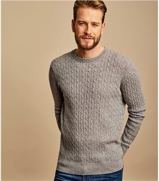 Pullover mit Rundhalsausschnitt und Zopfmuster aus Merino- und Kaschmirwolle für Herren