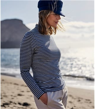 Womens Stripe Slim Polo Neck