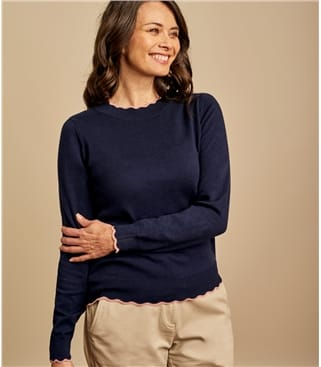 Womens Cotton Cashmere Scalloped Neck Jumper