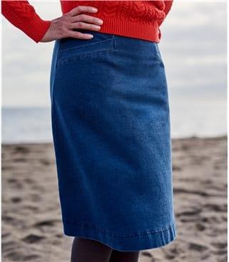 Jersey A-Linie Rock mit Taschen Detail aus Baumwolle mit geringem Elastananteil für Damen