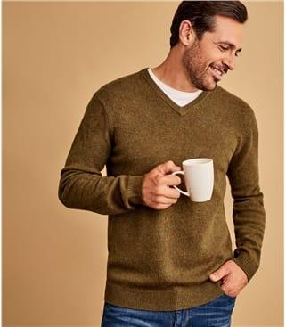 Pullover mit V-Ausschnitt aus Lammwolle für Herren