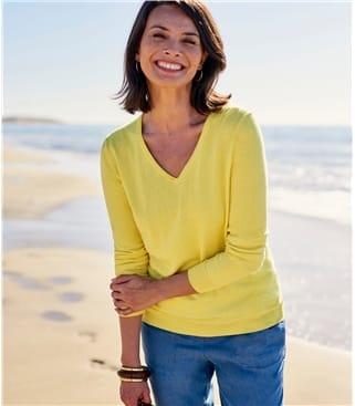 Женский пуловер из кашемира и хлопка
