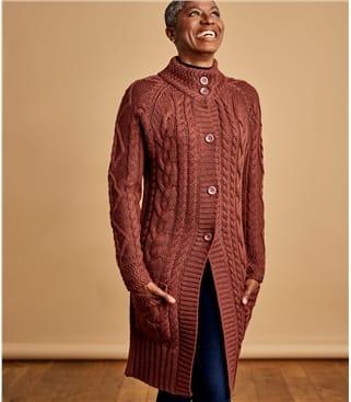 Женское аранское пальто из натуральной овечьей шерсти