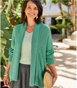 Womens Linen Relaxed Cardigan