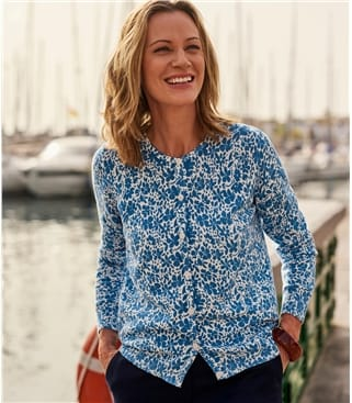Womens 100% Organic Cotton Floral Printed Cardigan