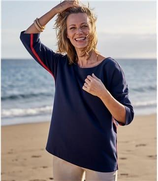 Womens Jersey Stripe Side Sweatshirt