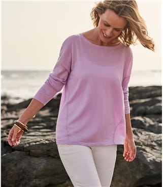 Womens Linen Blend Boxy Easy Boat Neck Jumper