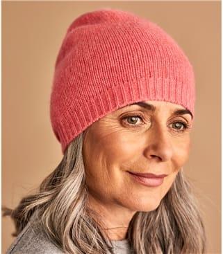 Mütze mit abgesetztem Saum aus Kaschmir für Damen