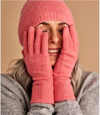 Handschuhe mit gerippter Saum aus Kaschmir für Damen