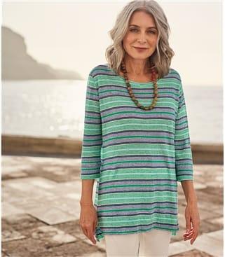 Womens Stripe Linen Top