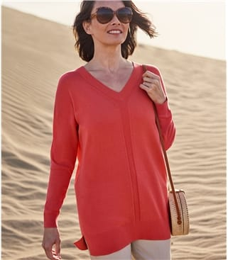 Womens 100% Organic Cotton Pointelle V Neck Jumper