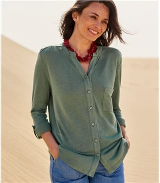 Womens Grandad Collar Shirt