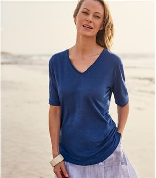 Womens Linen Jersey V Neck Top