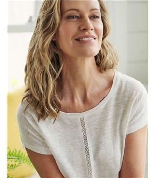 T-shirt à détail dentelle - Femme - Jersey de Lin Bio