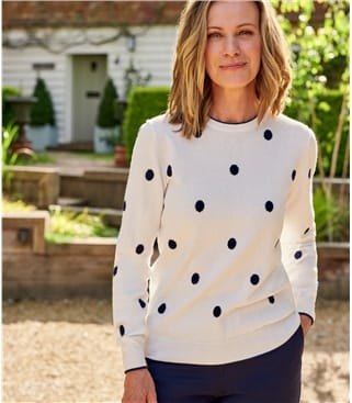 Womens Wool Blend Spot Sweater With Tipping
