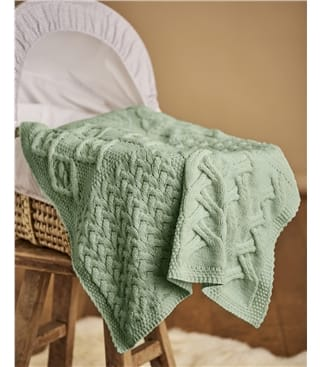 Supersoft Merino Cot Blanket 1size Seafoam Green