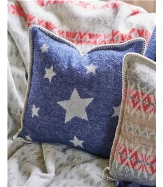 Pure Wool Reversible Star Cushion Cover