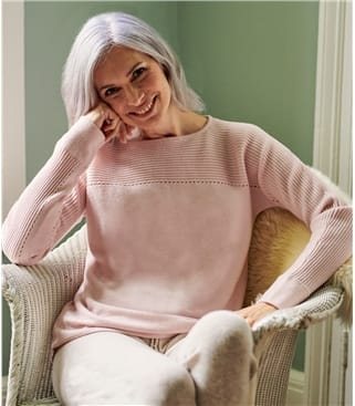 Womens Cashmere Merino Rib Yoke Pointelle Sweater