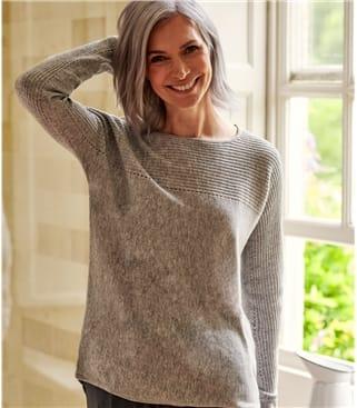 Pullover aus Kaschmir und Merinowolle mit Pointelle-Muster für Damen
