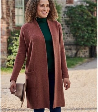 Womens 100% Lambswool Open Coatigan With Pockets