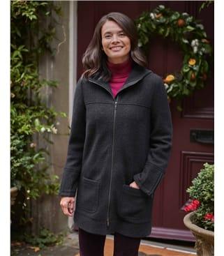 Manteau à capuche en laine bouillie - Femme - Pure Laine