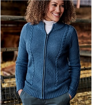 Womens Pure Wool Zip Front Cable Cardi