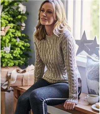Aran-Pullover aus reiner Wolle mit Rundhalsausschnitt für Damen