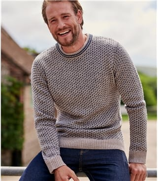 Mens Pure Wool Double Stitch Jumper