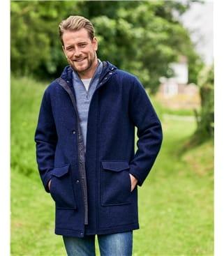 Boiled Wool Hooded Coat