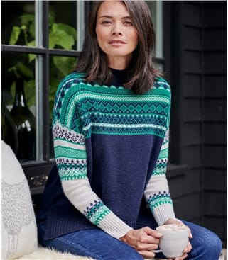 Womens Reverse Colour Fairisle Yoke Jumper