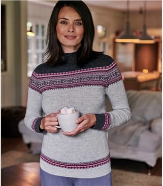 Womens Turtle Neck Fairisle Jumper