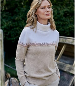 Womens Fairisle Detail Roll Neck Jumper