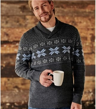 Mens Lambswool Fairisle Design Shawl Collar Jumper