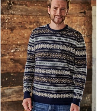 Mens All Over Fairisle Jumper