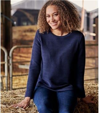 Sweat-shirt à maille texturée - Femme - Pur Coton