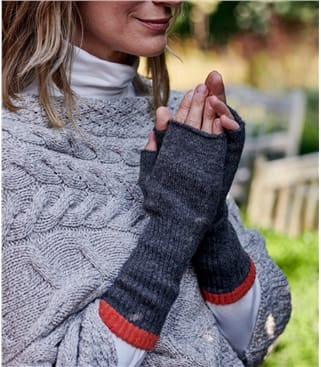 Tipped Lambswool Wrist Warmers