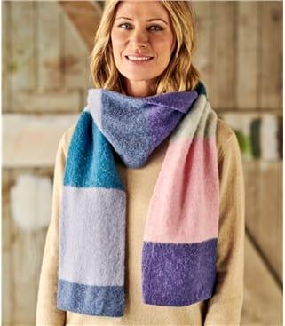 Womens Lambswool Fluffy Colourblock Scarf