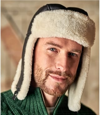 Mens Sheepskin Aviator Hat