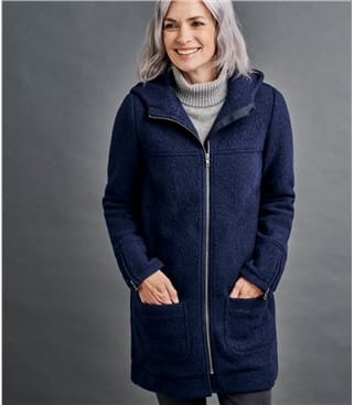 Jacke mit Kapuze aus gekochter Wolle für Damen