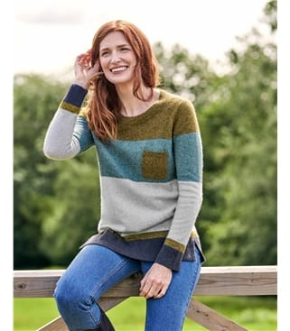 Color Block Pocket Sweater