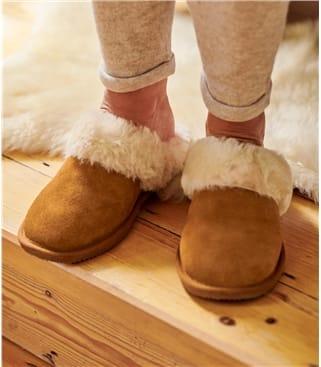 Womens Sheepskin Mule Slipper UK 3 Chestnut