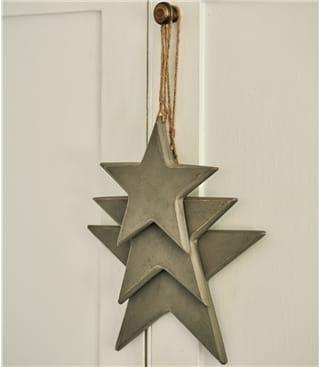 Lot de 3 étoiles pleines à suspendre - Maison - Bois