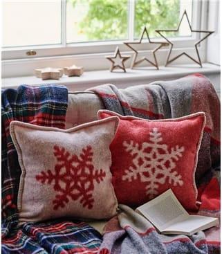 Housse de coussin motif flocon de neige - Maison - Pure Laine d'Agneau