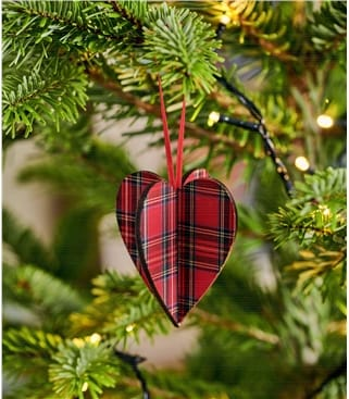 3D Heart Tartan Decoration