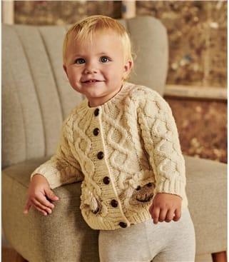 Cardigan à poches motif mouton pour bébé - Pur Mérinos