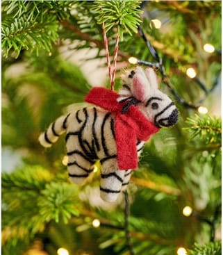 Zoe Zebra Christmas Decoration