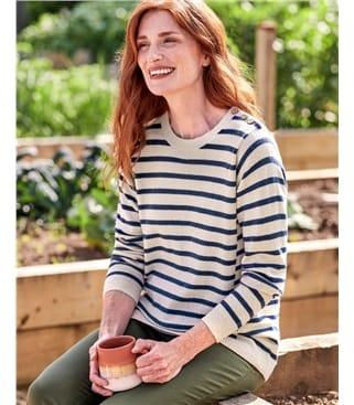 Pullover mit maritimen Streifen aus Wollmischung für Damen