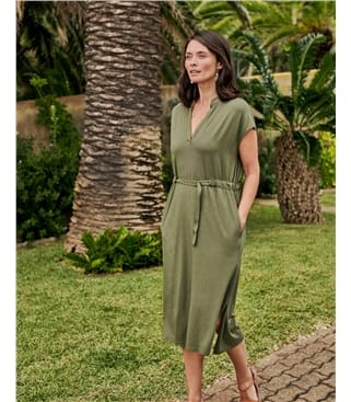 Robe chemise ceinturée - Femme - Jersey