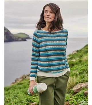 Pullover mit texturierten Streifen aus Bio-Baumwolle